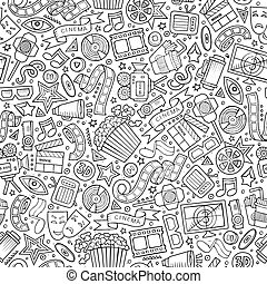 Cartoon cute hand drawn Cinema seamless pattern. Line art...
