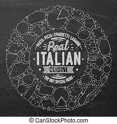 set, di, italiano, cibo, cartone animato, scarabocchiare,...