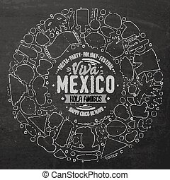 Set of Latin American cartoon doodle objects, symbols and...