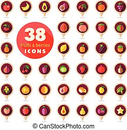 Set of Fruits and Berries pin map icon. Map pointer. Map...