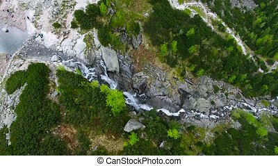 beautiful mountain lake with waterfals - beautiful aerial...