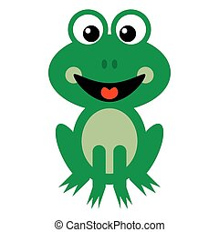 Smiling Green Frog Cartoon
