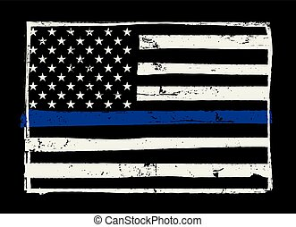 Police Support Flag Illustration - An American flag symbolic...