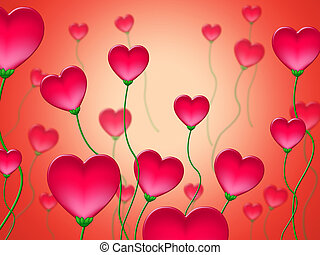 Red Hearts Background Shows Abstract Heart Shapes