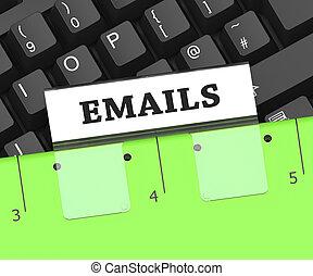 Emails Folder Represents Internet Message 3d Rendering