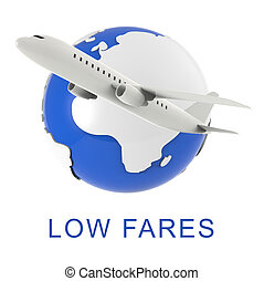 Low Fares Shows Discount Airfare 3d Rendering - Low Fares...