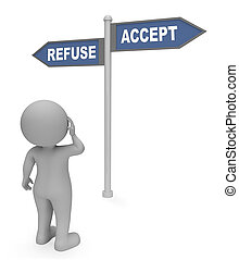 Refuse Accept Sign Indicates Allow Reject 3d Rendering -...