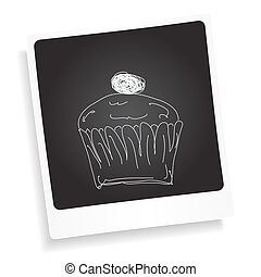 Doodle sketch of a cup cake on a photograph background