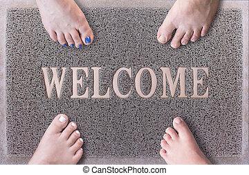 Welcome Door Mat With Funny Family Feet. Friendly Grey Door...