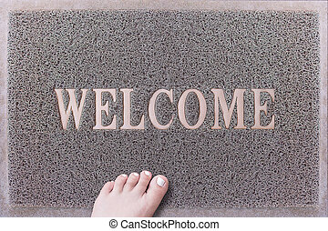 Welcome Door Mat With Female Foot Friendly Grey Door Mat...