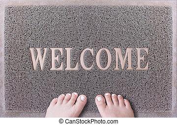 Welcome Door Mat With Female Feet. Friendly Grey Door Mat...