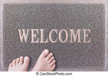 Welcome Door Mat With Female Feet Friendly Grey Door Mat...