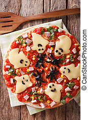 Pizza Halloween with ghosts cheese and olives spiders...