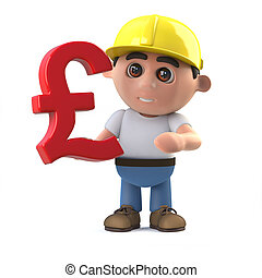 3d Construction worker holding a UK Pounds Sterling currency...