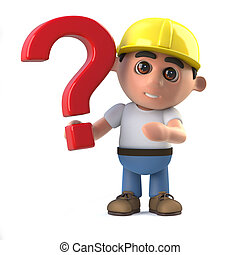 3d Construction worker has a question - 3d render of a...