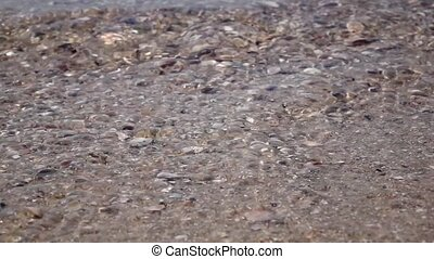 Sea waves breaking on the rocks. Close up. Slow motion