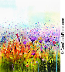 Abstract watercolor painting wildflower