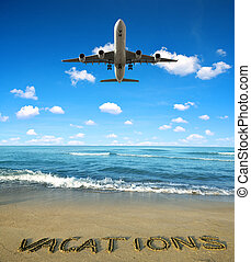 Summer vacation concept. - Landing an aircraft on a tropical...