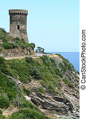 Genoese tower of Osse on Corsica island, France