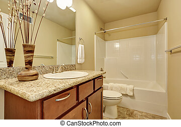Elegant bathroom with an alcove tub and beige walls. -...