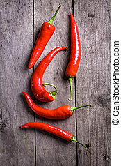 Ripe red chilli peppers.