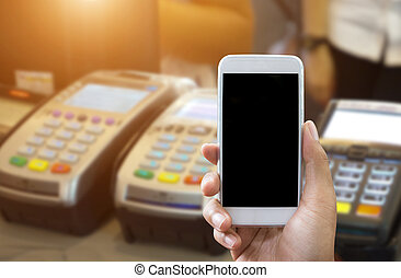 Pay by phone mockup concept - mobile payment transaction...