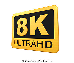 Ultra HD 8K Icon isolated on white background 3D render