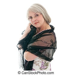 Mature woman - Mature, attractive Caucasian woman in a dress...