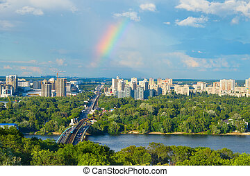 Beautiful Kiev cityscape. Ukraine - Skyline of Kiev with...