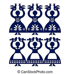 Polish folk art pattern Wycinanki - Vector folk design from...