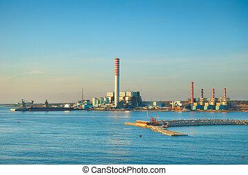 industriale, spiaggia, fabbrica