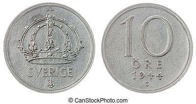 10 ore 1944 coin isolated on white background, Sweden -...