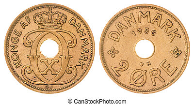 2 ore 1936 coin isolated on white background, Denmark -...