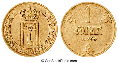 1 ore 1938 coin isolated on white background, Norway -...