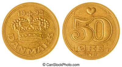 50 ore 1992 coin isolated on white background, Denmark -...