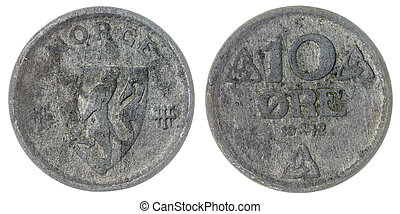 10 ore 1942 coin isolated on white background, Norway - Zinc...