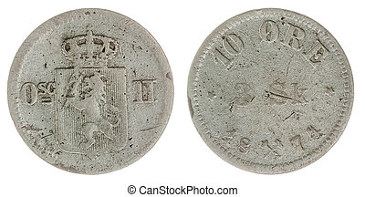 10 ore 1871 coin isolated on white background, Norway -...