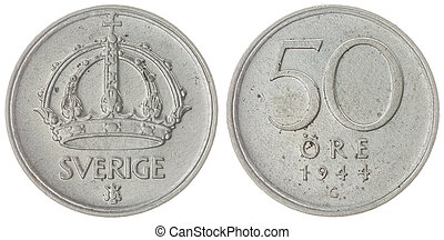 50 ore 1944 coin isolated on white background, Sweden -...