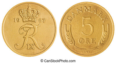 5 ore 1967 coin isolated on white background, Denmark -...