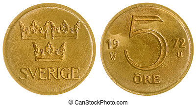 5 ore 1972 coin isolated on white background, Sweden -...