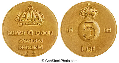 5 ore 1962 coin isolated on white background, Sweden -...