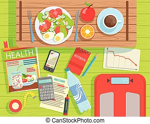 Diet And Weight Loss Elements Set View From Above. Colorful...
