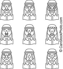 Line Art Avatars Arab Businessman Design Character Icons Set...