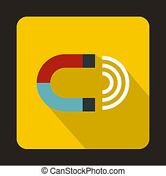 Magnet icon in flat style - icon in flat style on a yellow...
