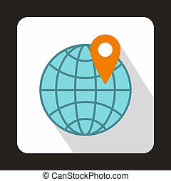 globo, y, mapa, indicador, icono, plano, estilo