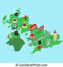 United Kingdom map, isometric 3d style - United Kingdom map...