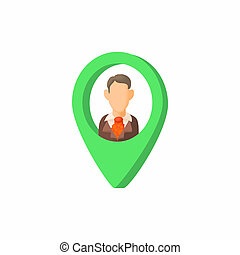 Search employee icon, cartoon style - Search employee icon...