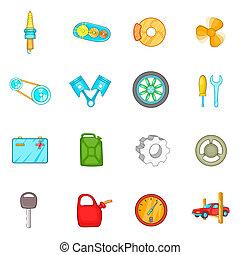 Auto spare parts icons set, cartoon style - Auto spare parts...