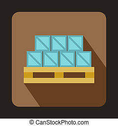Boxes on wooden palette icon, flat style