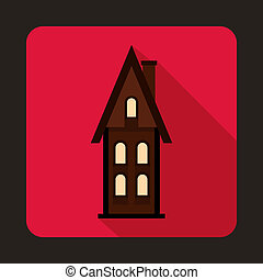 Two storey cottage icon, flat style - icon in flat style on...
